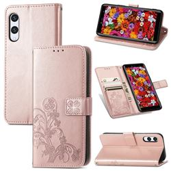 Embossing Imprint Four-Leaf Clover Leather Wallet Case for Rakuten Hand - Rose Gold