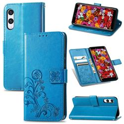 Embossing Imprint Four-Leaf Clover Leather Wallet Case for Rakuten Hand - Blue