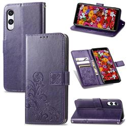 Embossing Imprint Four-Leaf Clover Leather Wallet Case for Rakuten Hand - Purple