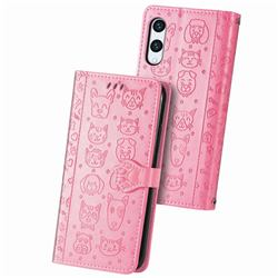 Embossing Dog Paw Kitten and Puppy Leather Wallet Case for Rakuten Hand - Pink