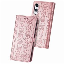 Embossing Dog Paw Kitten and Puppy Leather Wallet Case for Rakuten Hand - Rose Gold