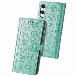 Embossing Dog Paw Kitten and Puppy Leather Wallet Case for Rakuten Hand - Green