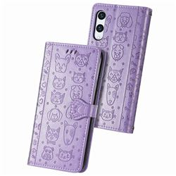 Embossing Dog Paw Kitten and Puppy Leather Wallet Case for Rakuten Hand - Purple