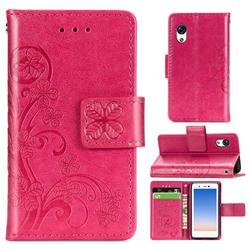 Embossing Imprint Four-Leaf Clover Leather Wallet Case for Rakuten Mini - Rose Red