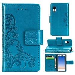 Embossing Imprint Four-Leaf Clover Leather Wallet Case for Rakuten Mini - Blue
