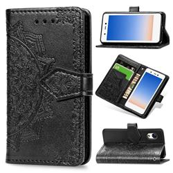 Embossing Imprint Mandala Flower Leather Wallet Case for Rakuten Mini - Black