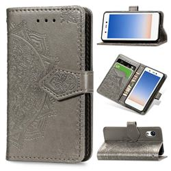Embossing Imprint Mandala Flower Leather Wallet Case for Rakuten Mini - Gray