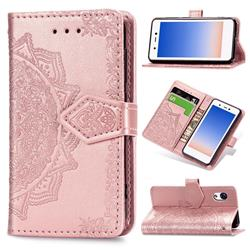 Embossing Imprint Mandala Flower Leather Wallet Case for Rakuten Mini - Rose Gold