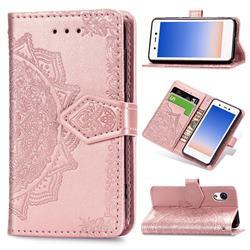 Embossing Imprint Mandala Flower Leather Wallet Case for Rakuten Mini - Rose Gold