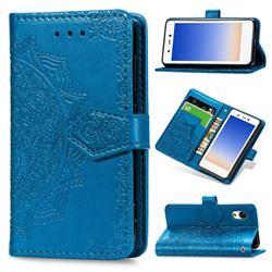Embossing Imprint Mandala Flower Leather Wallet Case for Rakuten Mini - Blue