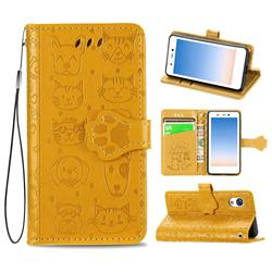 Embossing Dog Paw Kitten and Puppy Leather Wallet Case for Rakuten Mini - Yellow