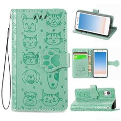 Embossing Dog Paw Kitten and Puppy Leather Wallet Case for Rakuten Mini - Green