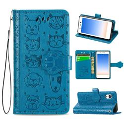 Embossing Dog Paw Kitten and Puppy Leather Wallet Case for Rakuten Mini - Blue