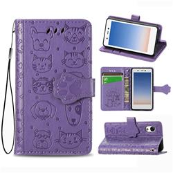 Embossing Dog Paw Kitten and Puppy Leather Wallet Case for Rakuten Mini - Purple