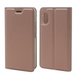 Ultra Slim Card Magnetic Automatic Suction Leather Wallet Case for Rakuten Mini - Rose Gold