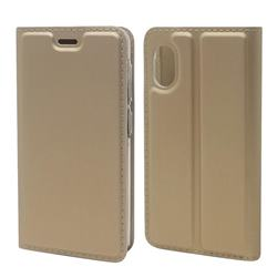 Ultra Slim Card Magnetic Automatic Suction Leather Wallet Case for Rakuten Mini - Champagne