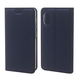 Ultra Slim Card Magnetic Automatic Suction Leather Wallet Case for Rakuten Mini - Royal Blue