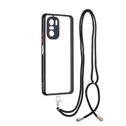 Necklace Cross-body Lanyard Strap Cord Phone Case Cover for Xiaomi Redmi K40 - Black