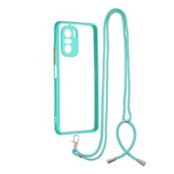 Necklace Cross-body Lanyard Strap Cord Phone Case Cover for Xiaomi Redmi K40 - Blue