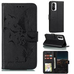 Intricate Embossing Lychee Feather Bird Leather Wallet Case for Xiaomi Redmi K40 - Black