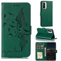 Intricate Embossing Lychee Feather Bird Leather Wallet Case for Xiaomi Redmi K40 - Green