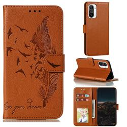 Intricate Embossing Lychee Feather Bird Leather Wallet Case for Xiaomi Redmi K40 - Brown