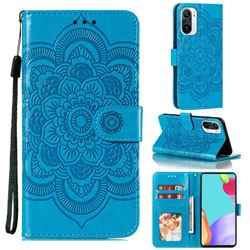 Intricate Embossing Datura Solar Leather Wallet Case for Xiaomi Redmi K40 - Blue
