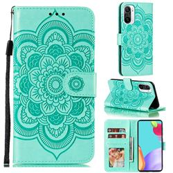 Intricate Embossing Datura Solar Leather Wallet Case for Xiaomi Redmi K40 - Green