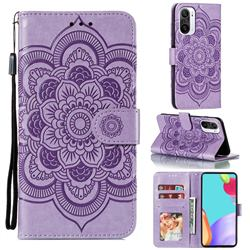 Intricate Embossing Datura Solar Leather Wallet Case for Xiaomi Redmi K40 - Purple