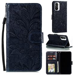 Intricate Embossing Lace Jasmine Flower Leather Wallet Case for Xiaomi Redmi K40 - Dark Blue