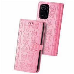 Embossing Dog Paw Kitten and Puppy Leather Wallet Case for Xiaomi Redmi K40 - Pink