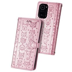 Embossing Dog Paw Kitten and Puppy Leather Wallet Case for Xiaomi Redmi K40 - Rose Gold