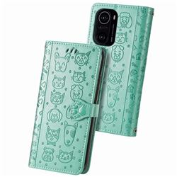 Embossing Dog Paw Kitten and Puppy Leather Wallet Case for Xiaomi Redmi K40 - Green