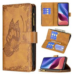 Binfen Color Imprint Vivid Butterfly Buckle Zipper Multi-function Leather Phone Wallet for Xiaomi Redmi K40 - Brown