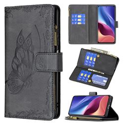 Binfen Color Imprint Vivid Butterfly Buckle Zipper Multi-function Leather Phone Wallet for Xiaomi Redmi K40 - Black