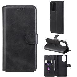 Retro Calf Matte Leather Wallet Phone Case for Xiaomi Redmi K40 - Black