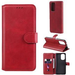 Retro Calf Matte Leather Wallet Phone Case for Xiaomi Redmi K40 - Red