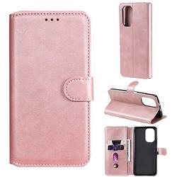 Retro Calf Matte Leather Wallet Phone Case for Xiaomi Redmi K40 - Pink
