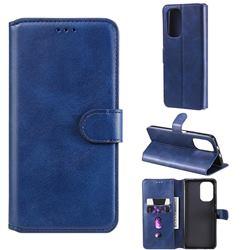 Retro Calf Matte Leather Wallet Phone Case for Xiaomi Redmi K40 - Blue