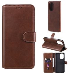 Retro Calf Matte Leather Wallet Phone Case for Xiaomi Redmi K40 - Brown
