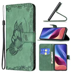 Binfen Color Imprint Vivid Butterfly Leather Wallet Case for Xiaomi Redmi K40 - Green