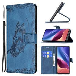 Binfen Color Imprint Vivid Butterfly Leather Wallet Case for Xiaomi Redmi K40 - Blue