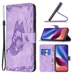 Binfen Color Imprint Vivid Butterfly Leather Wallet Case for Xiaomi Redmi K40 - Purple