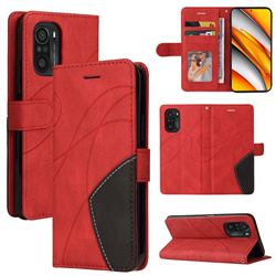 Luxury Two-color Stitching Leather Wallet Case Cover for Xiaomi Redmi K40 / K40 Pro - Red