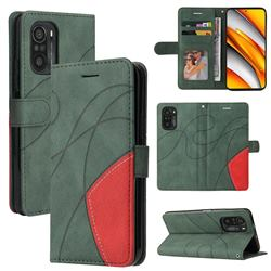 Luxury Two-color Stitching Leather Wallet Case Cover for Xiaomi Redmi K40 / K40 Pro - Green