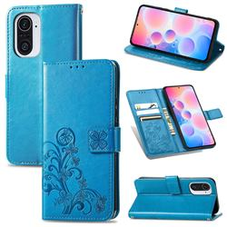 Embossing Imprint Four-Leaf Clover Leather Wallet Case for Xiaomi Redmi K40 / K40 Pro - Blue