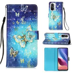 Gold Butterfly 3D Painted Leather Wallet Case for Xiaomi Redmi K40 / K40 Pro