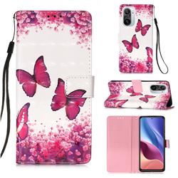 Rose Butterfly 3D Painted Leather Wallet Case for Xiaomi Redmi K40 / K40 Pro