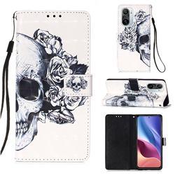 Skull Flower 3D Painted Leather Wallet Case for Xiaomi Redmi K40 / K40 Pro