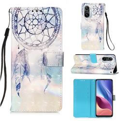 Fantasy Campanula 3D Painted Leather Wallet Case for Xiaomi Redmi K40 / K40 Pro